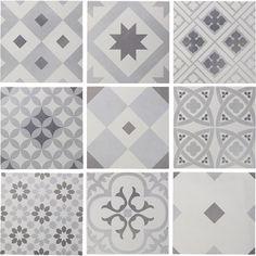 Carrelage sol et mur blanc & gris effet ciment Gatsby l.20 x L.20 cm