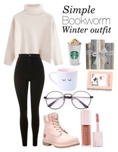 """""""Simple bookworm winter outfit"""" by nata-88-01 on Polyvore featuring Topshop, Timberland, Puma and Urban Outfitters"""