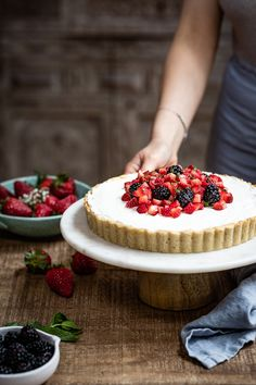 Maple Sweetened Strawberry Mascarpone Tart - Almond Flour Tart Crust filled with Mascarpone Whipped Cream