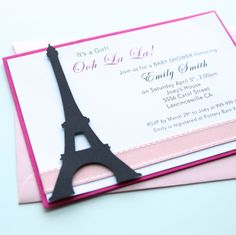 Paris Baby Shower Handmade Invitation