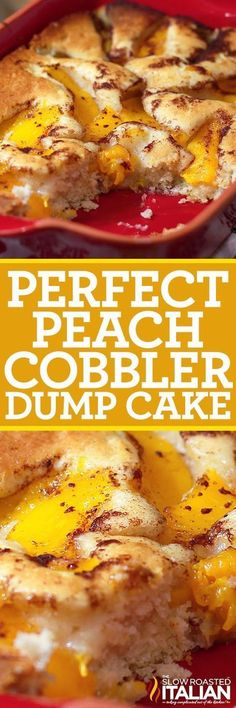 Perfect Peach Cobbler Dump Cake is a very easy recipe made in one bowl, poured into a pan and canned peaches are poured over top. It doesn't get much easier than that. Well my daughter has been making this cake since she was three, and that is one simple cake!