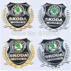 Upgrade Car Styling 3D Skoda Metal Badges Sticker with Skoda Logo for Rapid Octavia A5 A7 Fabia Superb Yeti Citigo Roomster 2pcs