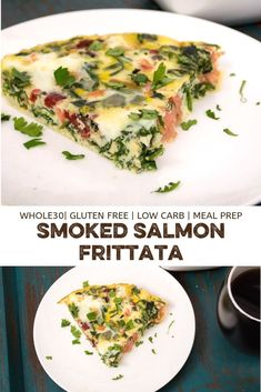 Smoked salmon frittata is the perfect breakfast or brunch! Easy for meal prep too! This simple, high protein meal is naturally gluten free, low carb, paleo and friendly! Smoked Salmon Breakfast, Smoked Salmon And Eggs, Smoked Salmon Frittata, Smoked Salmon Recipes, Healthy Salmon Recipes, Clean Recipes, Paleo Recipes, Free Recipes, Healthy Brunch