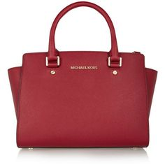 MICHAEL Michael Kors Selma medium textured-leather tote ($430) ❤ liked on Polyvore featuring bags, handbags, tote bags, purses, burgundy, zippered tote, cellphone purse, michael michael kors tote, zip tote bag and red purse