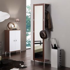Toledo hall closet panel with full length mirror. Available with front or rear clothes rail and also with pressure coat hooks. Entry Organization, Narrow Entryway, Mirror Hangers, Small Entryways, Hall Closet, Dressing Mirror, House Design, Shelves, Living Room