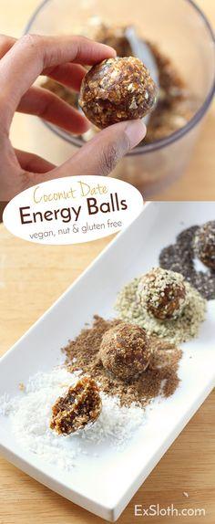 Vegan, Dairy Free, Refine Sugar Free, Nut Free Coconut Date Energy Balls via @ExSloth   ExSloth.com