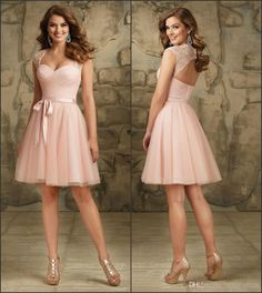 Blush Short Tulle Bridesmaid Dresses 2015 Knee Length Capped Sleeve A Line with Simple Ribbon Backless Maid of Honor Gowns Custom MG08