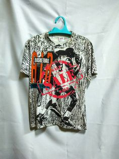 1e0a7c48160c Vintage Rare 90s Michael Jordan 23 Chicago Bulls Air Basketball Sport Full  print Same Side Nike Shoes Jumping Jumpman Tee Shirt