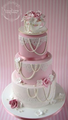 Vintage Tea Cup & Lace Wedding Cake By The Clever Little Cupcake Company - (cakesdecor) #laceweddingcakes #weddingcakes