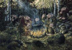 Bilderesultat for tegninger av troll Dream Fantasy, Fantasy Art, Icelandic Sagas, Legendary Creature, Norse Mythology, Indigenous Art, Magical Creatures, Goblin, Storytelling