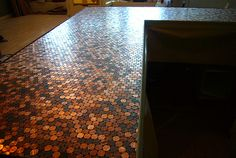 penny tiled bathroom floor?  This is a tutorial of a countertop