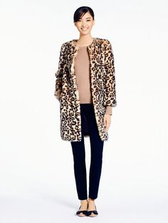 $898, Beige Leopard Fur Coat: Kate Spade Rossalyn Coat. Sold by Kate Spade. Click for more info: https://lookastic.com/women/shop_items/100472/redirect
