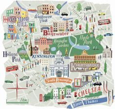 Map of west london by anna simmons for national geographic traveller London Life, London Art, West London, Travel Maps, Travel Posters, Plan Ville, London Neighborhoods, Travel Illustration, Map Design