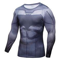 バットマンvsスーパーマン3dプリントtシャツ男性ロングスリーブ新しいコスプレ衣装スリムフィットフィットネスclothingトップス男性tシャツティー