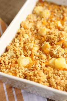 This Pineapple Cheese Casserole is sweet and salty, gooey perfection! The quick and easy recipe combines tangy, sweet pineapple pieces, sharp cheddar cheese, and buttery cracker crumbs! Side Dishes Easy, Side Dish Recipes, Tasty Dishes, Food Dishes, Recipes Dinner, Pineapple Cheese Casserole, Baked Pineapple, Pineapple Recipes, Butter Crackers