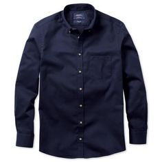 Navy non-iron twill Classic fit shirt