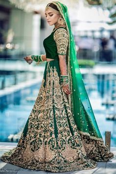 Indian Bridal Outfits, Indian Fashion Dresses, Indian Bridal Fashion, Pakistani Bridal Dresses, Dress Indian Style, Pakistani Dress Design, Fashion Outfits, Glam Look, Green Lehenga