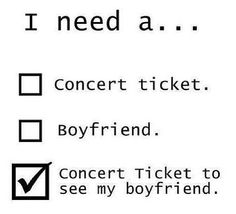 I Need A Concert Ticket To See My Boyfriend
