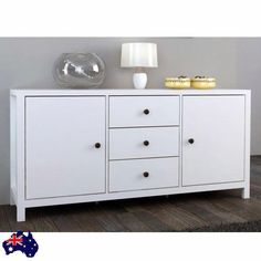 Drawers & Cupboards Cabinet Storage Buffet Unit Kitchen Office Sideboard White