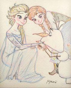 2016/1/17 ⛄️ #frozen #elsa #anna #olaf #disney #sketch #drawing #エルサ #アナ