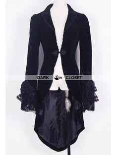 Pentagramme Black Velvet Gothic Swallow-Tailed Coat for Women - DarkinCloset.com