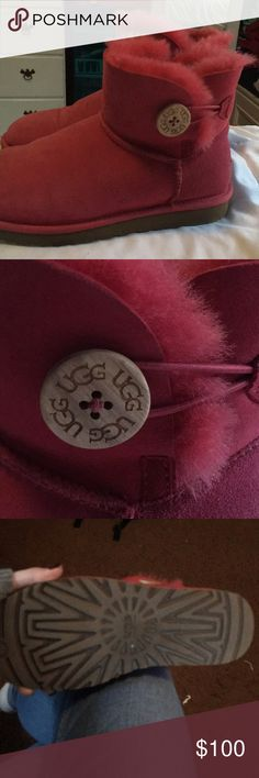 Mini bailey button UGGS Coral color mini bailey button, worn a few times. Basically new UGG Shoes Ankle Boots & Booties