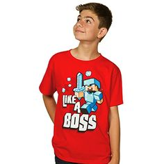 10a9d770c Jinx Minecraft Boy's 8-20 Like A Boss Youth T-Shirt Red youthMedium  Minecraft