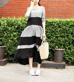 Linen Contrast Color Long Dress in Black/Grey Maxi Dress Tunic Dress on Etsy, $74.00