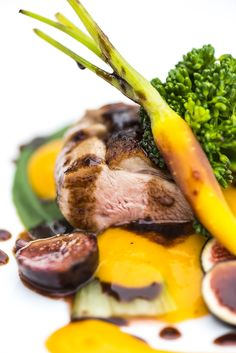Pan Seared Duck Breast, Pak Choi, Broccoli, Fresh Fig, Chocolate Jus