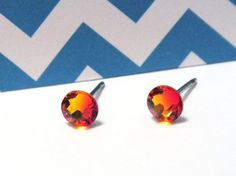 Items similar to Orange Lava Fire Opal Swarovski Crystal Surgical Steel Stud Earrings, Studs-Swarovski Studs, Orange Studs on Etsy Jewelry Ideas, Jewelry Box, Jewlery, Jewelry Making, Surgical Steel Earrings, Girl Stuff, Bling Bling, Lava, Photo Art