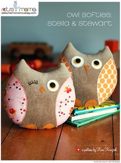 Owl Sewing Pattern - Stella and Stewart Owl Softies PDF Sewing Pattern - Owl Toy - Owl Pillow Softies, Sewing Toys, Sewing Crafts, Sewing Projects, Sewing Tutorials, Owl Fabric, Fabric Crafts, Scrap Fabric, Owl Crafts