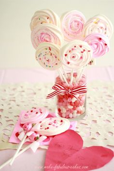 Simple and easy to make, homemade gluten-free Meringue Pops. A perfect treat for Valentine's Day.