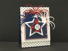 Happy 4th...die cut fireworks from glitter paper..