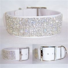 2 inch white nylon Collar with velvet overlay and decorated with our clear crystal. Solid Bling. Just gorgeous!