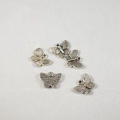 5 breloques papillon métal argenté vieilli - 17 x 13mm
