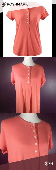 Darling Vintage cabi Spring 2015 Henley Tee NWT Vintage cabi ♥ Spring 2015 - Henley Tee #263 ♥ Brand NEW with tag! Beautiful soft tee is classic Henley design! Rich sunset coral in color with button front scoop neckline and shirttail hem. Ribbed fabric is cabi attention to detail on this beauty! ♥ Go to piece for summer!   Fabric: 62% Poly - 34% Rayon - 4% Spandex   Garment Care: Machine Wash - Flat to Dry  ♥ Please visit my closet again soon - lots of excellent deals on minty condition cabi…
