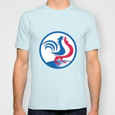 Chicken Rooster Crowing Circle Retro T-shirt
