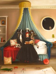 Janet Hill, 'Miss Moon Was A Dog Governess.  Lesson Six:  Don't Be Afraid Of The Dark.  The Creatures Of The Night Are More Afraid Of You Than You Should Be Of Them.' 2013