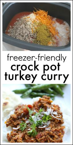 Crock Pot Turkey Curry Chili:  This DELICIOUS curry dish is freezer-friendly and takes less than 10 minutes to prep!  And with only 185 calories per serving, it is a healthy option for busy families.  Just serve over a bed of rice or with naan bread!