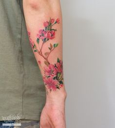 Cherry Tattoo by tatuyiseuteu River. Cherry blossom tattoo. Flower. arm. color. Cherry Blossom. Tattoo. Per tattoos