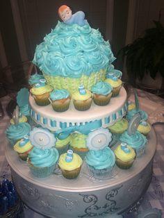 Boy baby shower giant cupcake