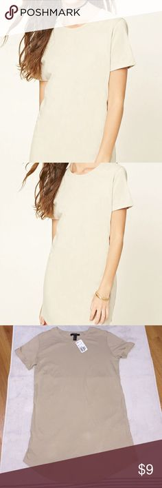 """Forever 21 Classic T-shirt Dress Beige t-shirt dress, new w/ tags attached. From the """"Not So Basic"""" Collection @ Forever 21. Forever 21 Dresses Midi"""