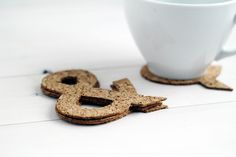 Ampersand Cut Cork Coasters
