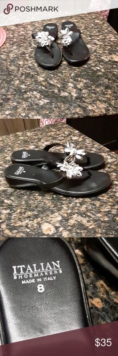6e4d726b100ba New Italian sandals So pretty black new leather sandals with gorgeous  flower on top for chic