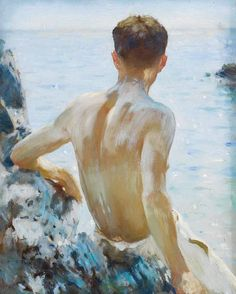 'BEACH STUDY' | Henry Scott Tuke: 'One of the last paintings Tuke exhibited at The Royal Academy before he died in March 1929. This remarkably bold and expressionistic work shows the toned and lean back of Charlie Mitchell (1885 – 1957), honed by years of rowing boats around Falmouth harbour. The work demonstrates Tuke's confidence and mastery in the depiction of light, and there is a hint of sails on the horizon in a shimmering, sparkling mirage of heat and light.'     ✫ღ⊰n