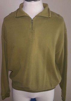 Men's Tommy Bahama Green 1/4 Zip Pullover Sweater Sweatshirt Long Sleeve Large #TommyBahama #14Zip