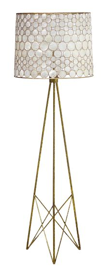 "Serena Floor Lamp - Antiqued Gold Base & Frame w/Capiz Shell Shade  Overall:65""H Shade:21.5""Diameter Base:15.75""Diameter"