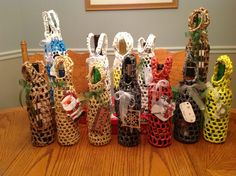 Recycled wine totes with recycled Christmas card tags :)