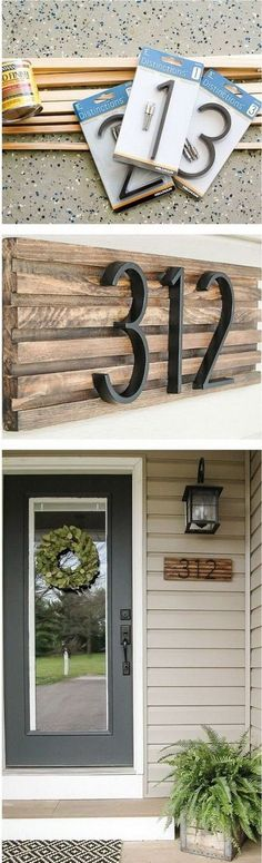 Rustic DIY Projects to add Warmth to your Farmhouse Decor, Home Decor, DIY Rustic House Number Sign. House numbers give your home a finished look while also helping visitors find their way to your home. You can create you. Rustic Decor, Farmhouse Decor, Rustic Charm, Rustic Wood, Diy Wood, Farmhouse Style, Farmhouse Front, Rustic Table, Rustic Industrial