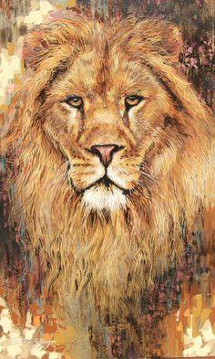 lion portrait with rich colour and impasto paint aplication